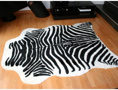 Tapis imitation zèbre synthétique couleur blanc et noir