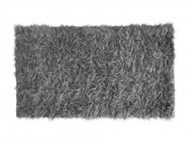 Tapis rectangle en peau de mouton synthétique gris