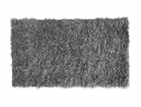 Tapis rectangle en peau de mouton synthétique gris