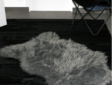 Gray synthetic sheep skin