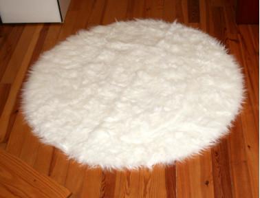 Tapis rond en peau de mouton synthétique blanc façon fausse fourrure