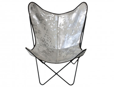 Butterfly armchair in silver white cowhide