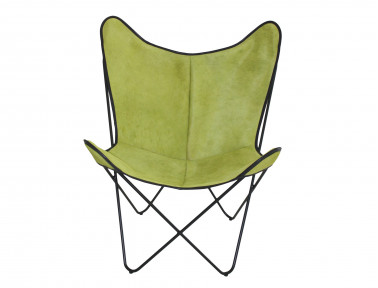 Butterfly armchair in green tinted cowhide