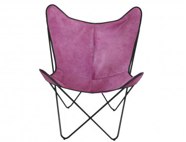 Butterfly armchair in cowhide tinted parme