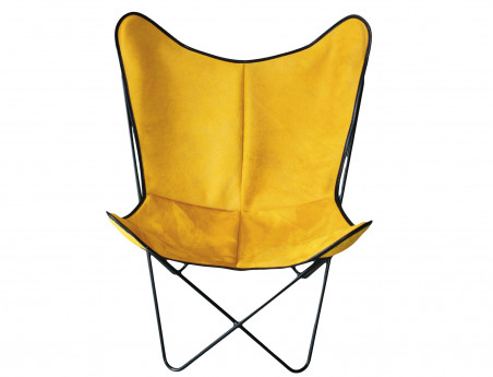 Butterfly armchair in yellow cowhide