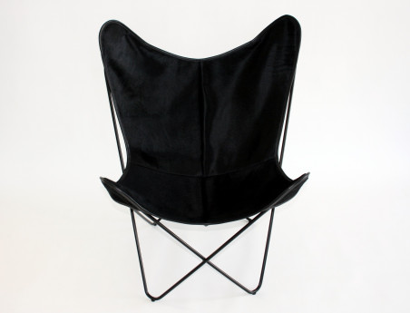 Butterfly armchair in black stained cowhide