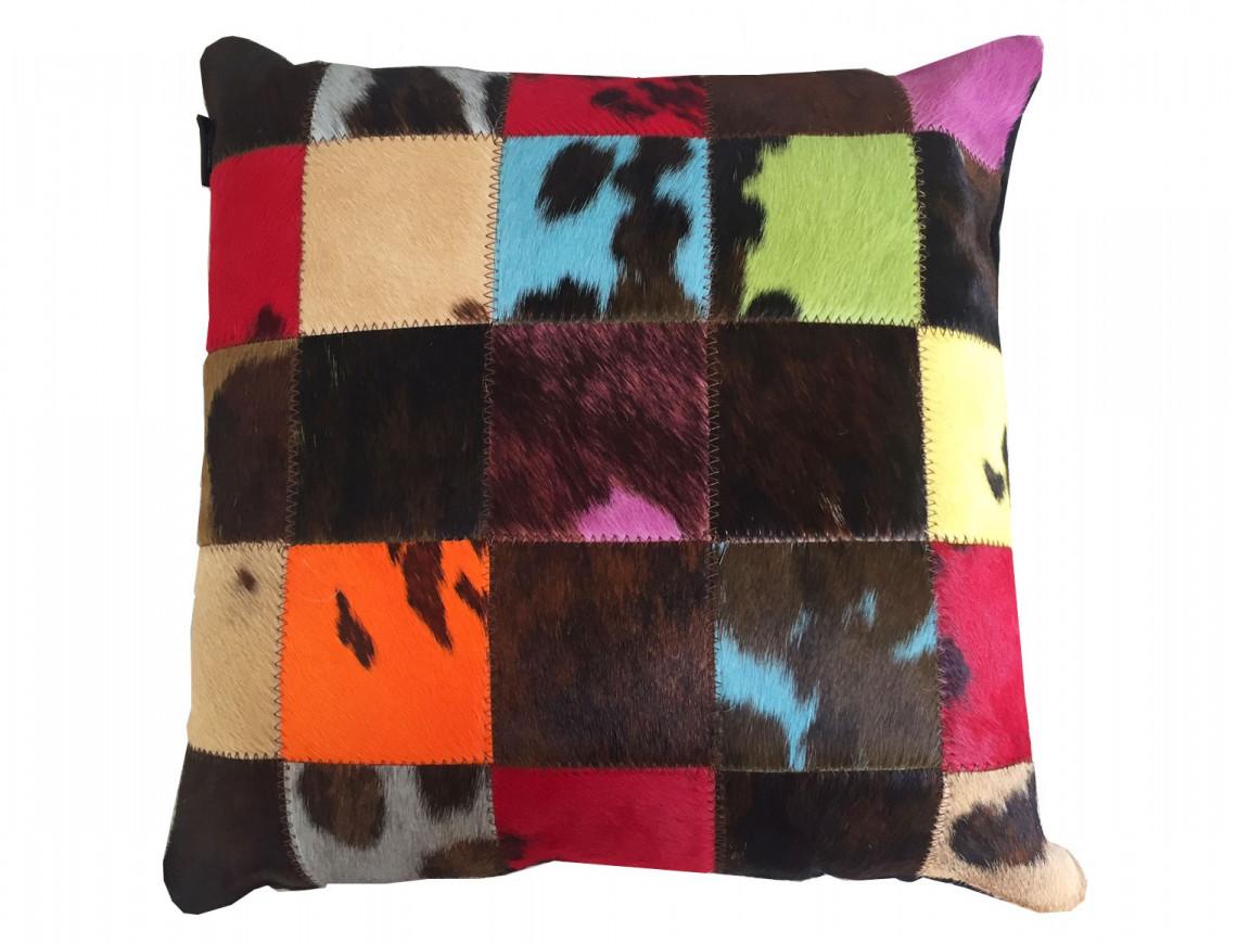 Coussin patchwork en Peau de vache naturelle teintée SIMPLE FACE