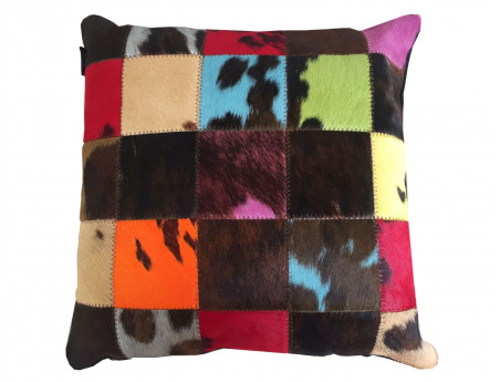 Patchwork cushion in natural cowhide tinted SIMPLE FACE