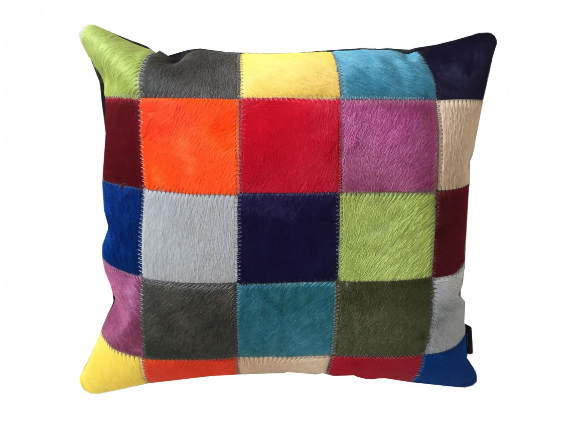 Coussin patchwork en Peau de vache teintée uniforme SIMPLE FACE