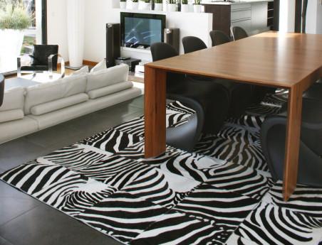 Patchwork rug in zebra cowhide