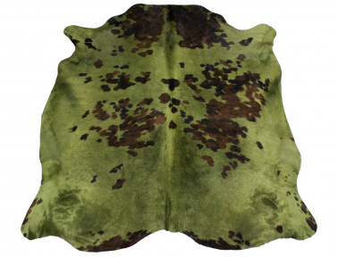 Natural cowhide tinted green khaki