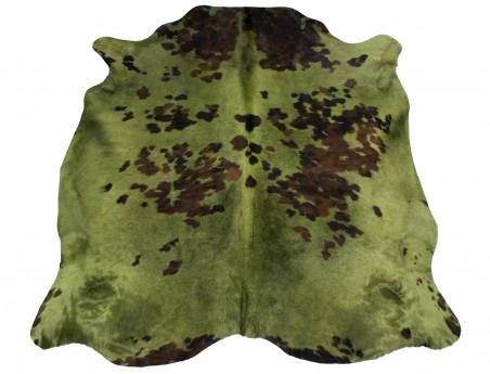 Peau de vache Naturelle teintée vert kaki