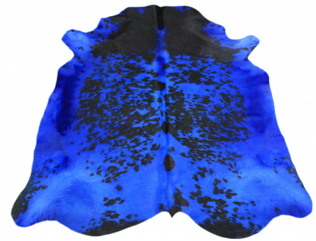 Peau de vache Naturelle teintée bleu