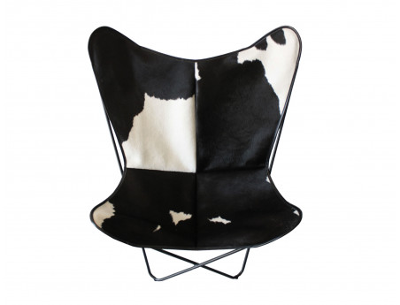 Butterfly chair in black and white cowhide