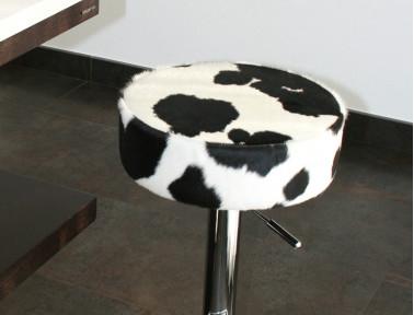 Tabouret en peau de vache Noire et Blanche