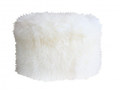 Round white sheepskin pouf