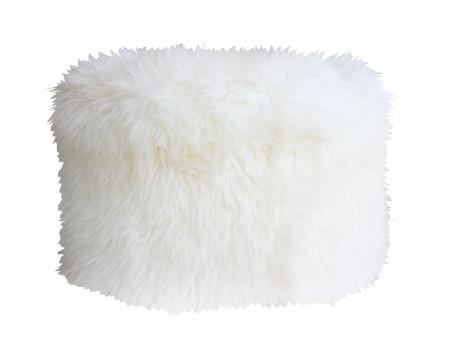 Pouf rond en peau de mouton blanche