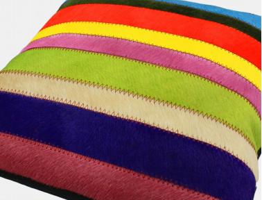 """Coussin patchwork bandelette """"Smile"""" Peau de vache multicolore unie SIMPLE FACE"""
