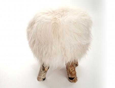 Tabouret en mouton avec pieds en véritable bois de Bouleau