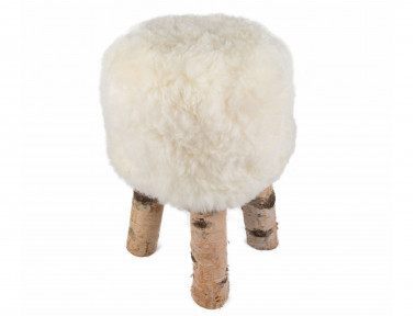 "Stool in sheep ""Dona"" short hairs with feet in real Birch wood"
