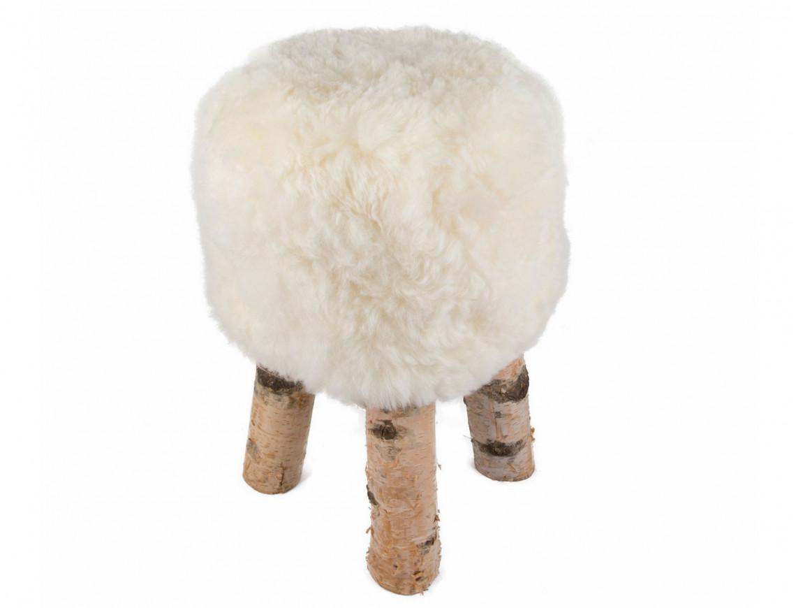 Tabouret en mouton poils courts avec pieds en véritable bois de Bouleau