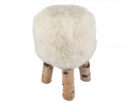 """Tabouret en mouton """"Dona"""" poils courts avec pieds en véritable bois de Bouleau"""