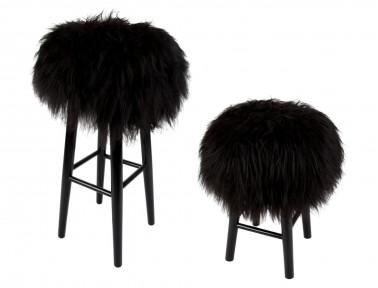 """Tabouret en bois """"Lina"""" assise mouton Islandais noir"""