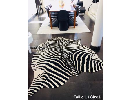 Zebra cowhide printed on white background