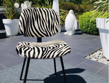 """Chaise en peau de vache Zèbre """"Pompon"""" by Sonia M"""