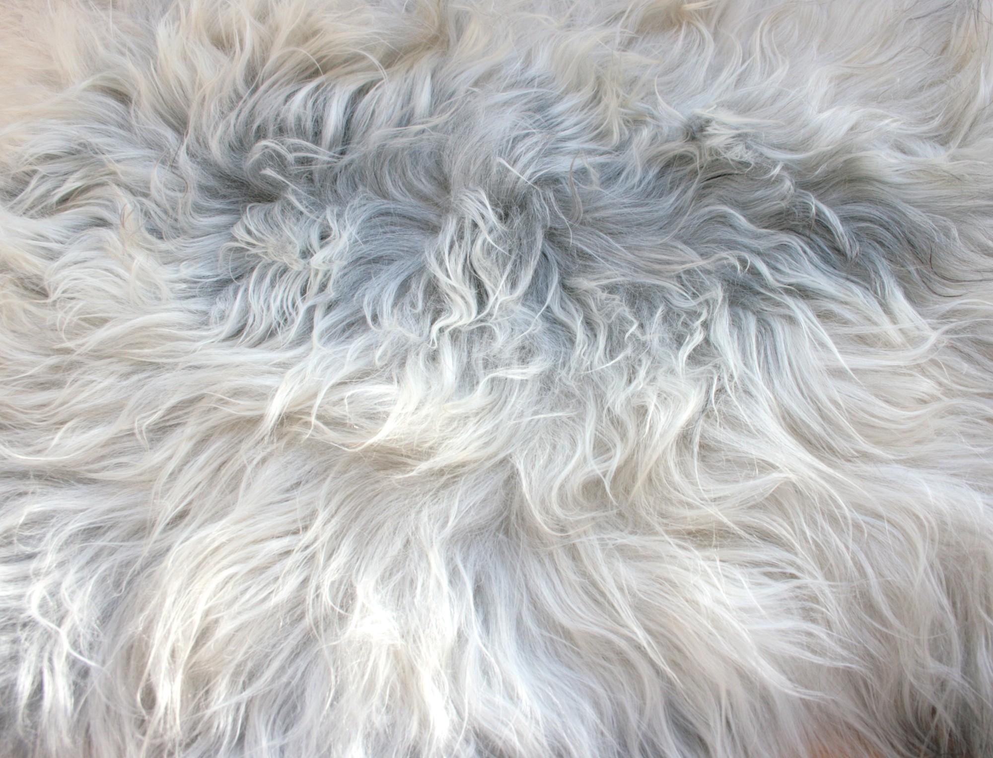 Tapis en peau de mouton islandais gris m ch naturel - Tapis peau de mouton synthetique ...