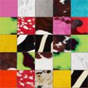 Tapis patchwork Elmer en peau de vache multicolore ambiance printaniêre
