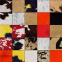 Tapis patchwork Elmer en peau de vache multicolore ambiance automnale